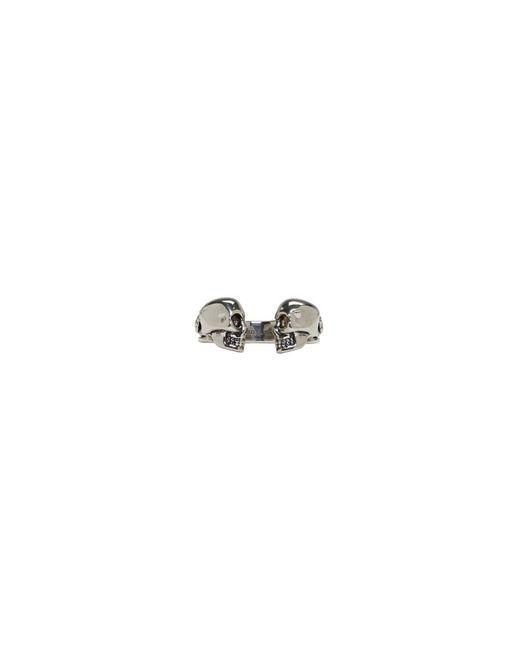 Alexander McQueen - Metallic Silver Twin Skull And Snake Ring for Men - Lyst