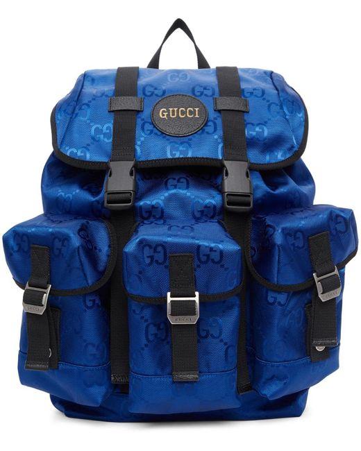 メンズ Gucci Off The Grid コレクション ブルー GG エコ バックパック Blue