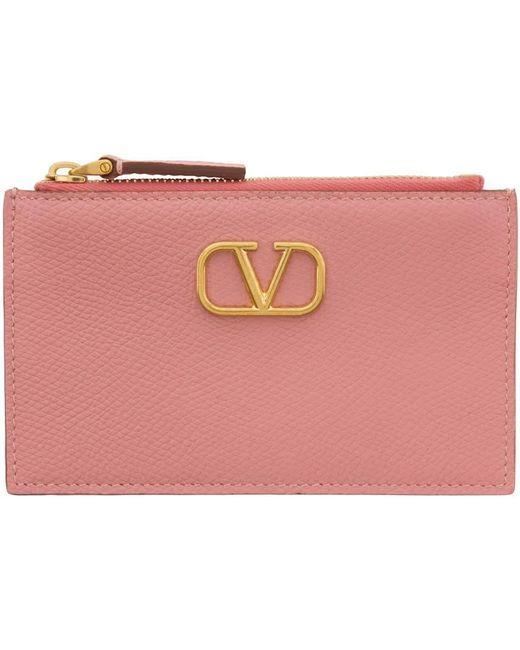 Valentino Garavani ピンク Vlogo ジップ カード ケース Pink