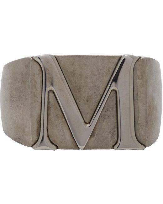 メンズ Maison Margiela シルバー ポリッシュ M シグネット リング Metallic