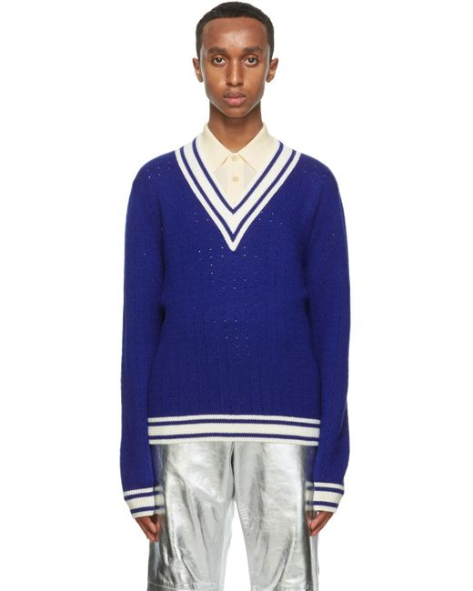 メンズ Gucci ブルー ウール V ネック セーター Blue