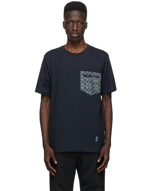 メンズ COACH ネイビー シグネチャ Essential T シャツ Blue