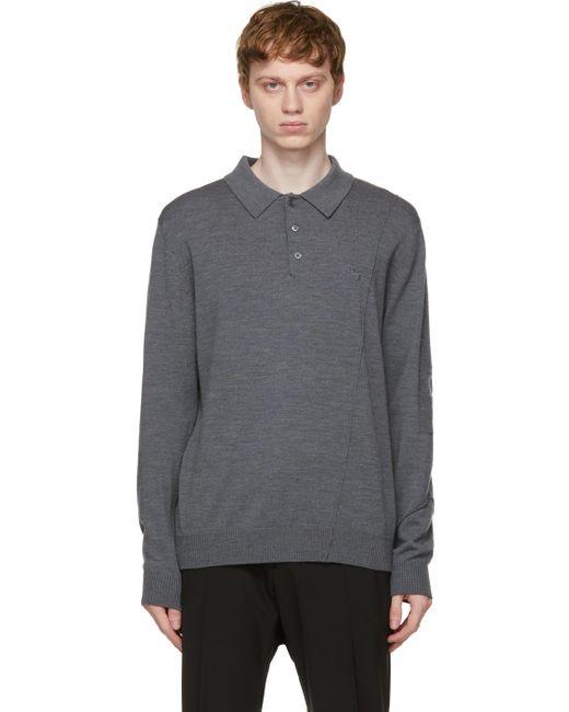 メンズ A_COLD_WALL* * グレー ロング スリーブ ポロシャツ Gray