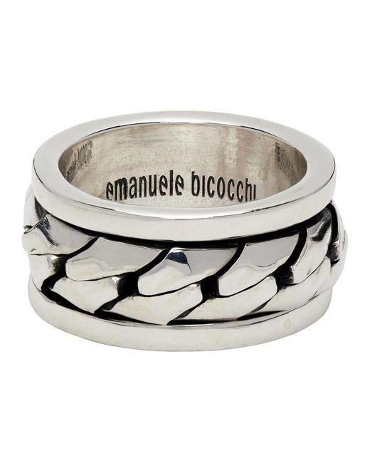 メンズ Emanuele Bicocchi シルバー チェーン リング Metallic