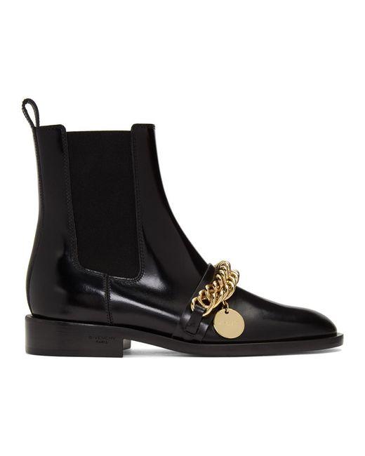 Givenchy ブラック チェーン アンクル ブーツ Black