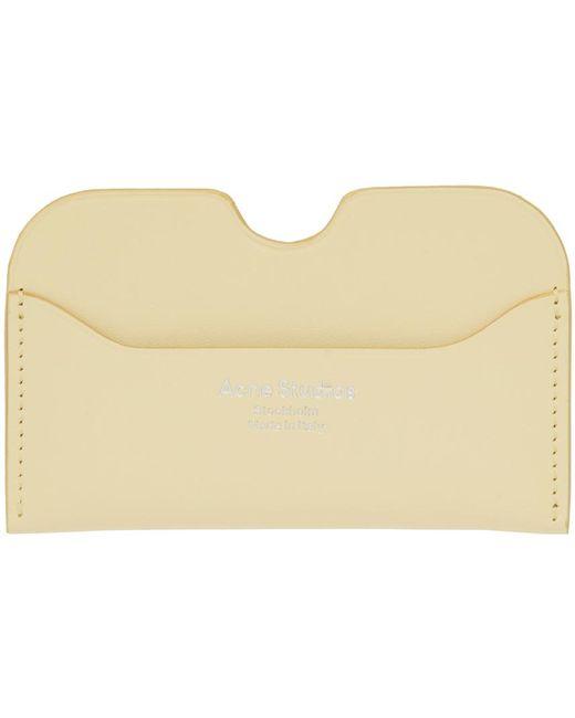 メンズ Acne イエロー ロゴ カード ケース Yellow