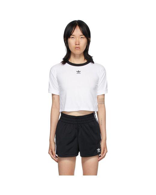 Adidas Originals ホワイト ロゴ クロップ T シャツ White