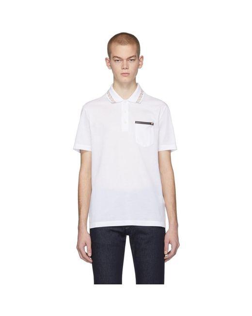 メンズ Versace ホワイト グリーク キー ポロ White
