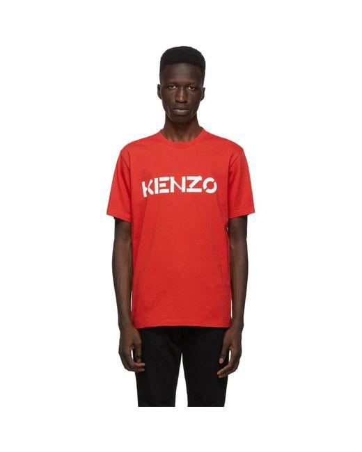 メンズ KENZO レッド Classic ロゴ T シャツ Red