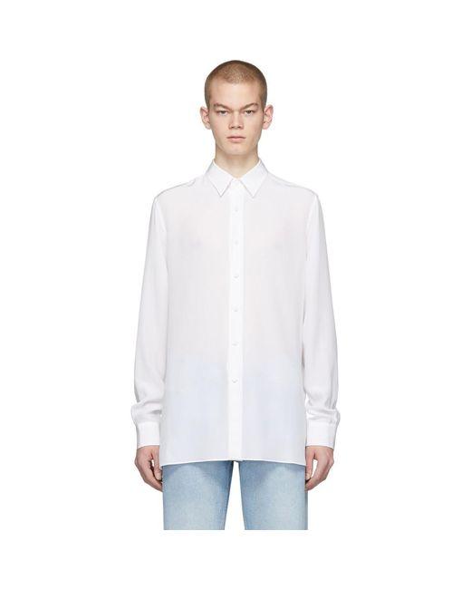 メンズ Valentino ホワイト シルク シャツ White