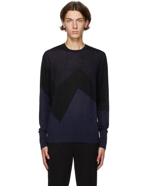 メンズ Neil Barrett ネイビー & ブラック Modernist セーター Blue