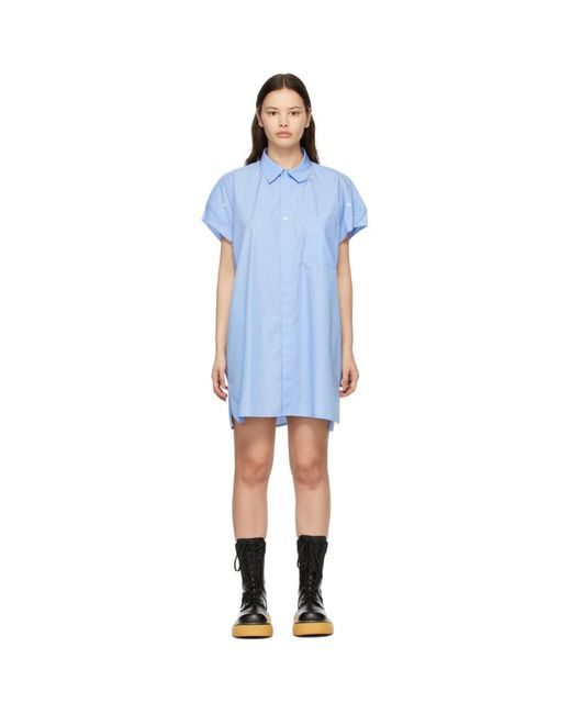 ADER ERROR ブルー ストライプ シャツ ドレス Blue