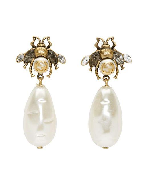 Women\u0027s Metallic Gold Pearl Bee Drop Earrings