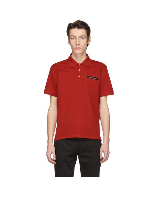 メンズ Givenchy レッド テープ ロゴ ポロ Red