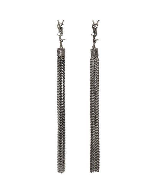 Saint Laurent - Metallic Silver Chain Fringe Earrings - Lyst