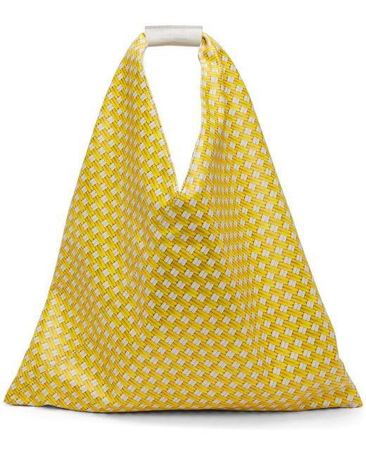 MM6 by Maison Martin Margiela イエロー フェイクレザー ミディアム トライアングル トート Yellow