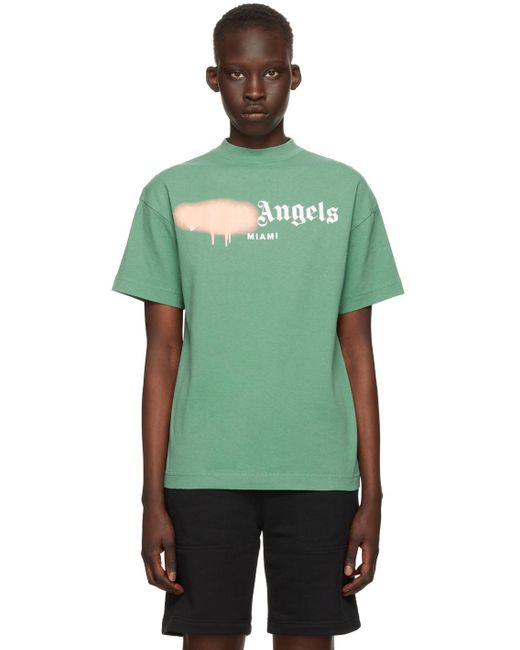Palm Angels グリーン & ピンク Sprayed Miami ロゴ T シャツ Green
