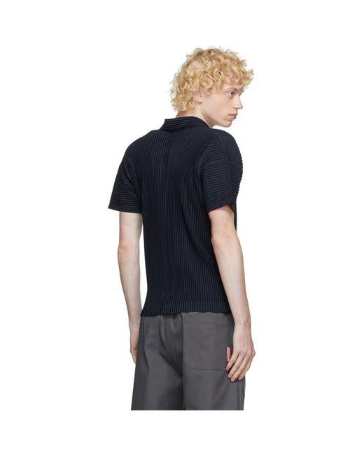 メンズ Homme Plissé Issey Miyake ネイビー ベーシック ポロシャツ Blue