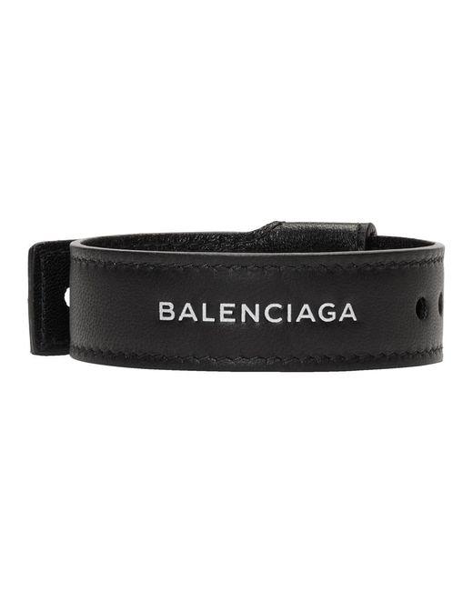 Balenciaga - Black Leather Party Bracelet for Men - Lyst