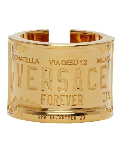 メンズ Versace ゴールド ライセンス プレート リング Multicolor
