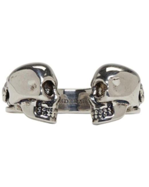 Alexander McQueen | Metallic Silver Twin Skull And Snake Ring for Men | Lyst