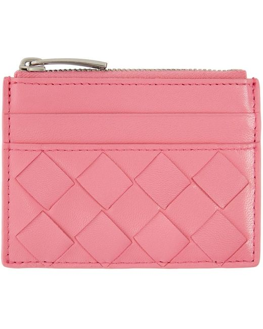 Bottega Veneta ピンク トップ ジップ カード ケース Pink