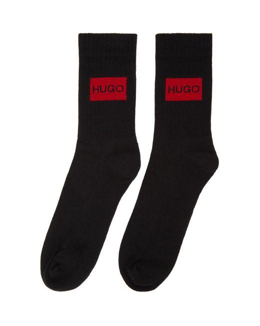 メンズ HUGO ブラック ロゴ ソックス 2 足セット Black