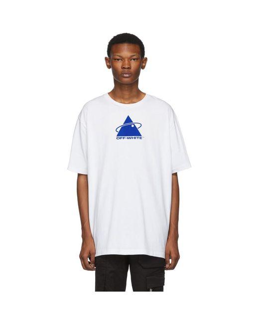メンズ Off-White c/o Virgil Abloh ホワイト And ブルー オーバーサイズ トライアングル プラネット T シャツ Multicolor