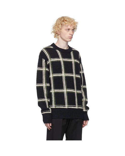 メンズ Dries Van Noten ブラック ウール チェック セーター Black