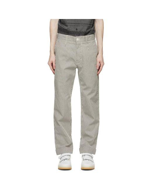 メンズ Engineered Garments ネイビー And ホワイト ストライプ Andover トラウザーズ Multicolor