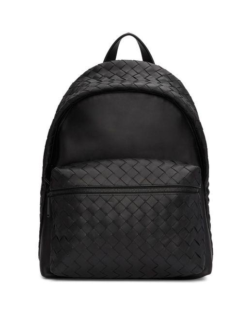 メンズ Bottega Veneta ブラック イントレチャート ミディアム バックパック Black