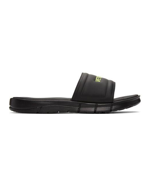 メンズ Vetements Reebok Edition ブラック ロゴ スライド Black