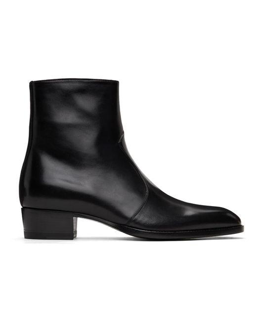 メンズ Saint Laurent ブラック Wyatt ジップ ブーツ Black