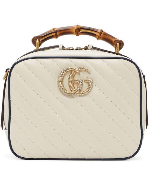 Gucci ホワイト キルティング GG Marmont 2.0トップ ハンドル バッグ White