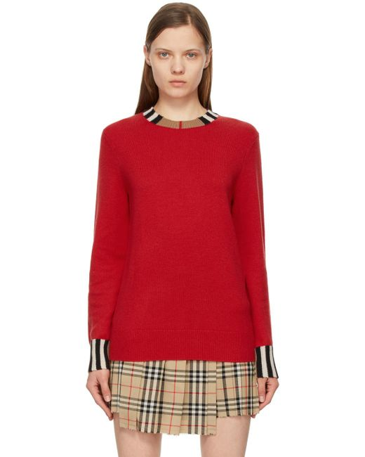 Burberry レッド カシミア Eyre セーター Red