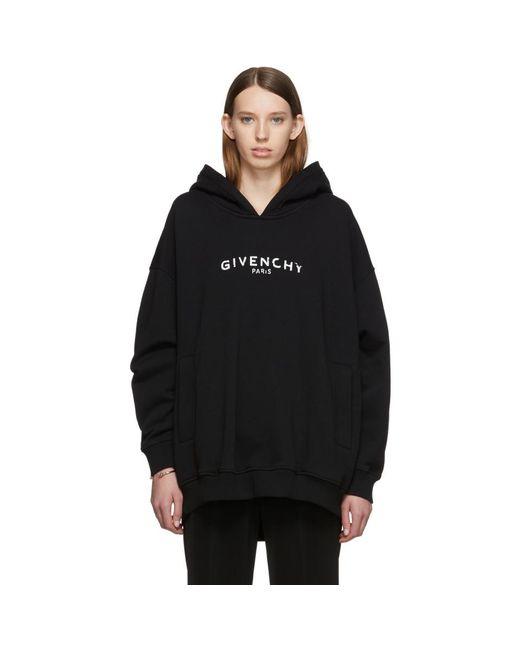 Givenchy ブラック オーバーサイズ Paris ビンテージ フーディ Black