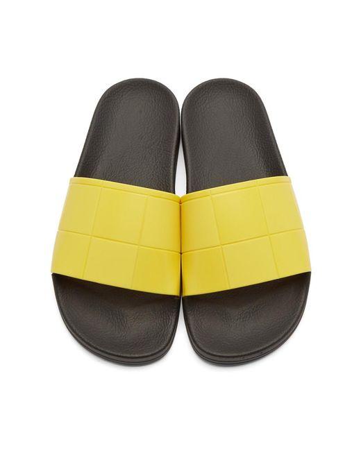 551ec169a394c ... Raf Simons - Yellow Adidas Edition Checkerboard Adilette Slides for Men  - Lyst