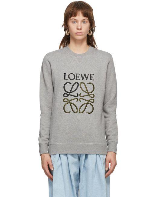 Loewe グレー エンブロイダリー アナグラム スウェットシャツ Gray