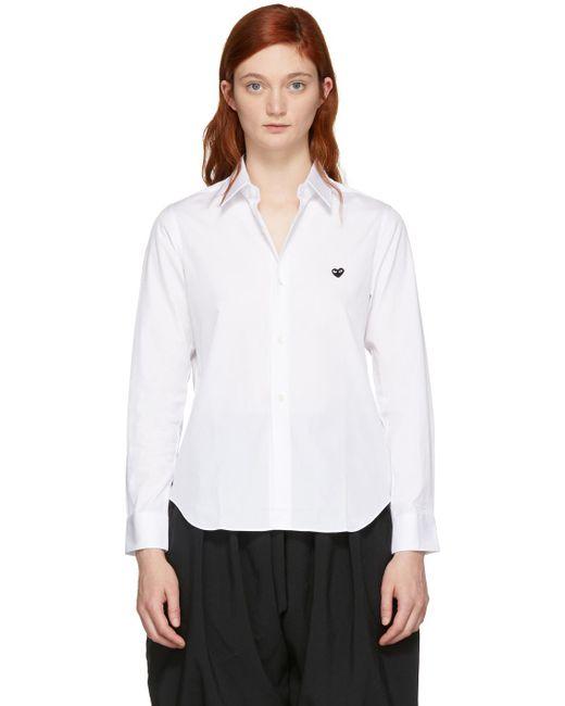 COMME DES GARÇONS PLAY ホワイト スモール ハート シャツ White