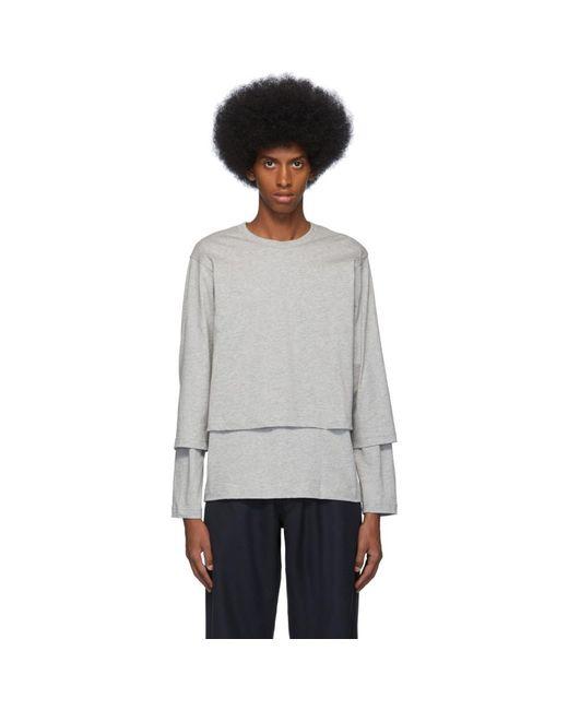 メンズ Comme des Garçons グレー レイヤード ロング スリーブ T シャツ Gray