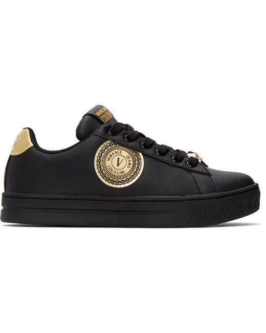 Versace Jeans ブラック & ゴールド 88 V-emblem Court スニーカー Black