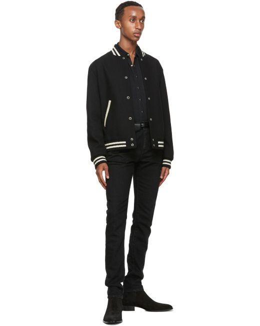 メンズ Saint Laurent ブラック レザー ナロー モノグラム ベルト Black