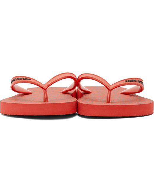 メンズ Versace Jeans レッド ロゴ ビーチ サンダル Red