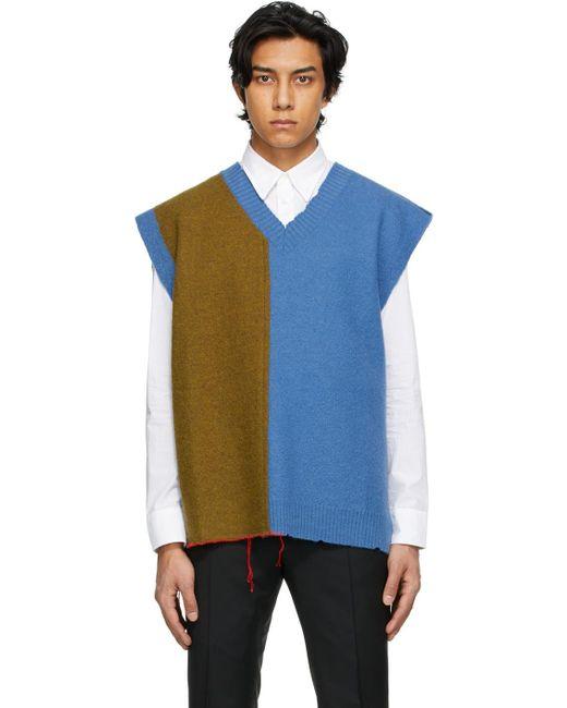 メンズ Maison Margiela ブルー & タン V ネック セーター Blue