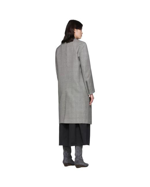 we11done ブラック And ホワイト グレン チェック テーラード ダブルブレスト コート Gray