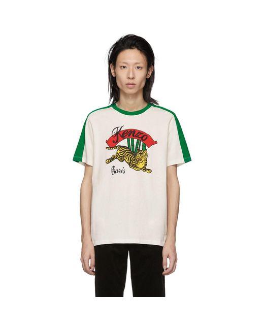 メンズ KENZO ホワイト バンブー タイガー T シャツ Multicolor