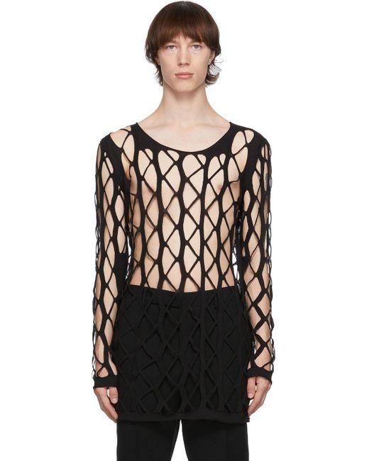 メンズ Rick Owens ブラック Net セーター Black