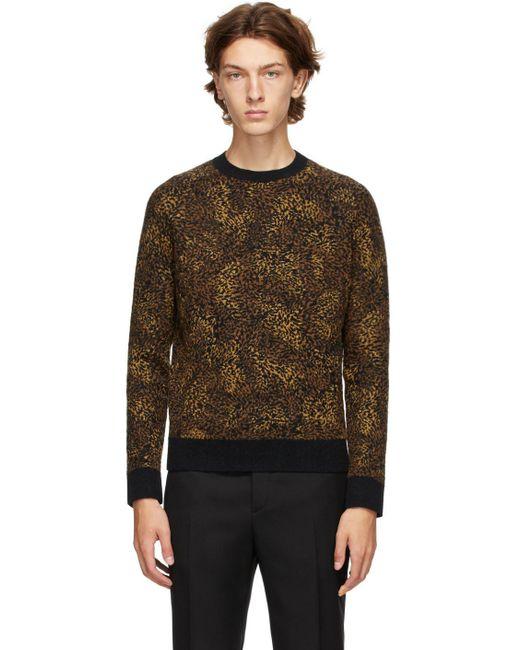 メンズ Saint Laurent ブラック ジャカード レオパード クルーネック セーター Black