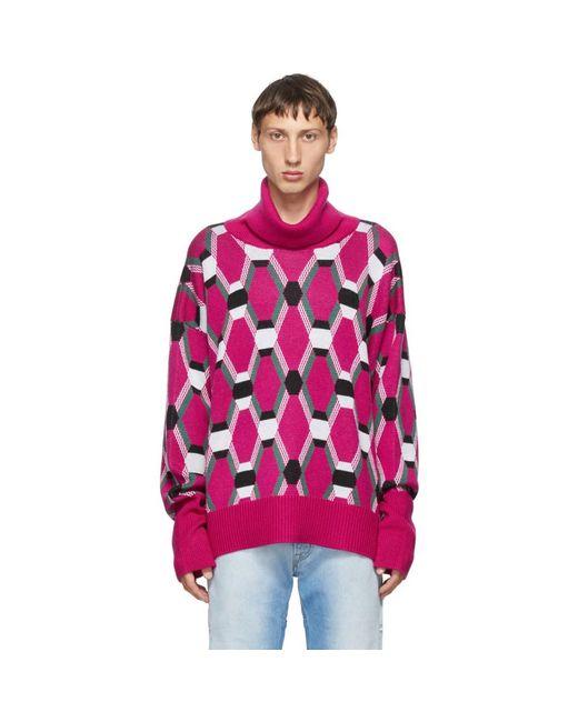 メンズ Random Identities ピンク ウール ジャカード セーター Pink