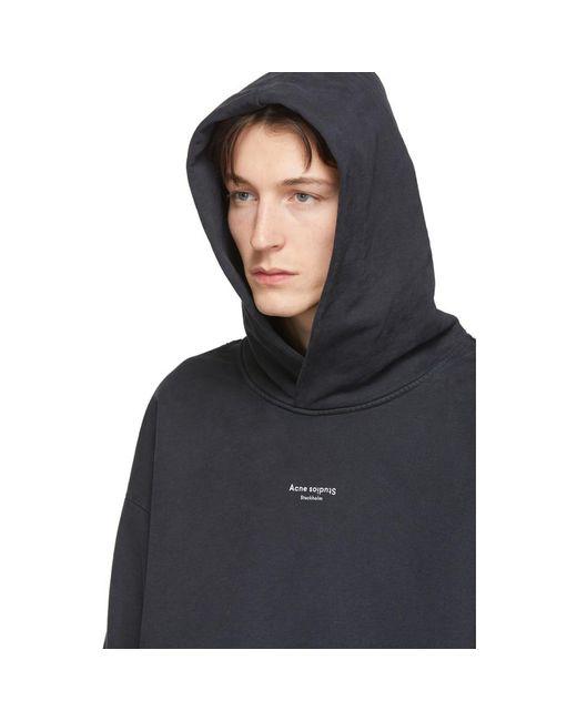 メンズ Acne ブラック リバース ロゴ フーディ Black